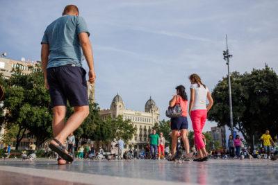 Placa de Catalunya, torg i centrum av Barcelona