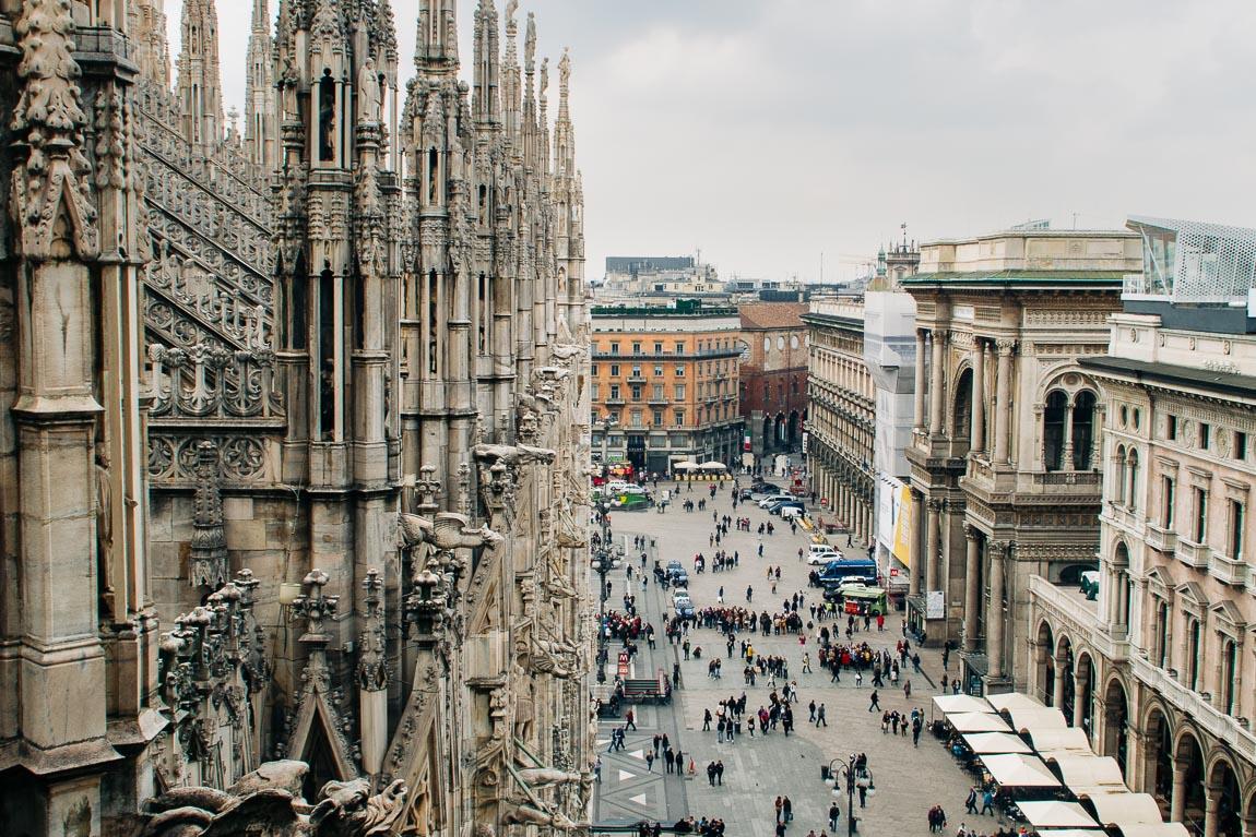 Utsikt från Duomo över torget och Galleria Vittorio Emanuele