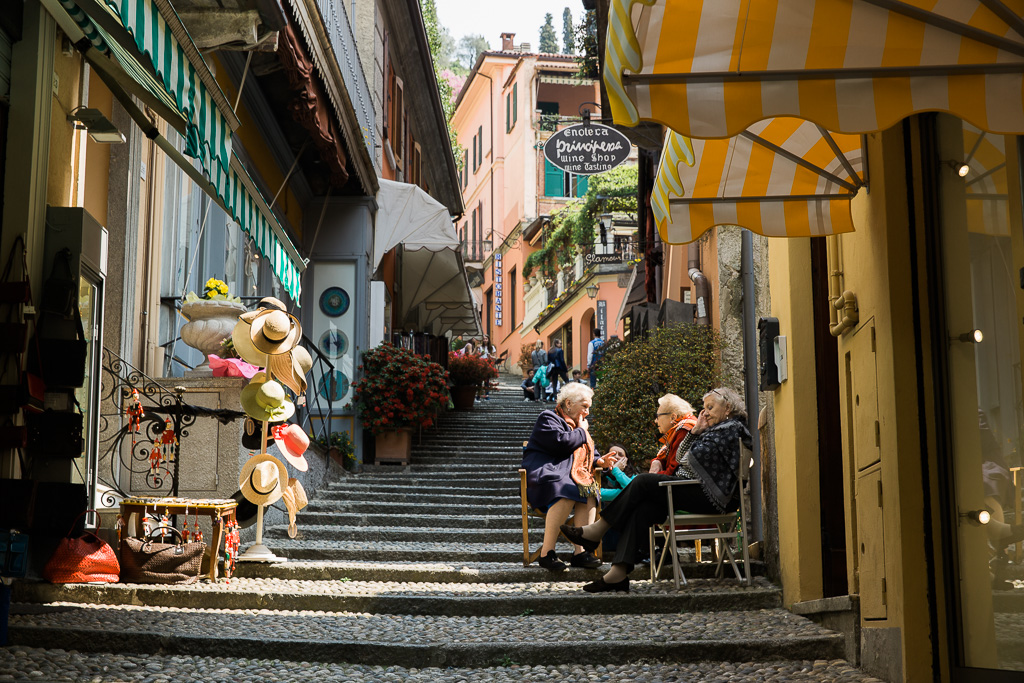 Bybor i Bellagio vid Comosjön