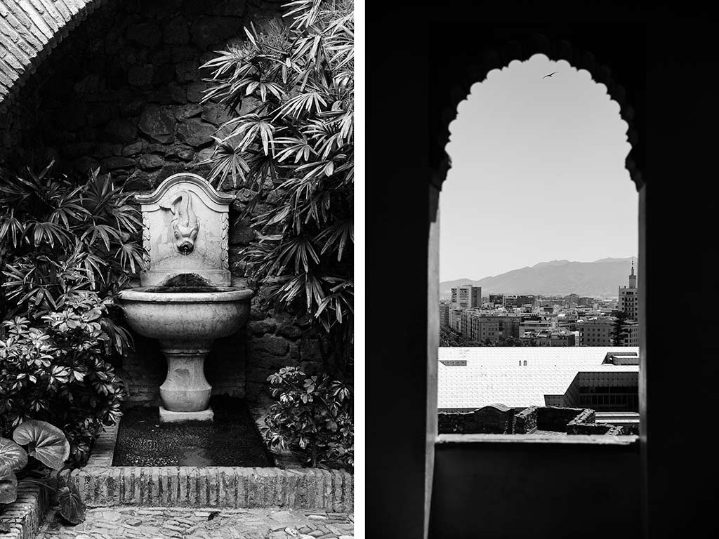 Detaljer från vackra Alcazaba i Malaga