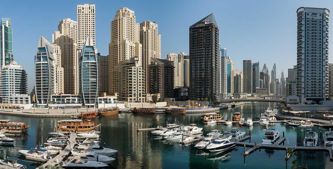 Utsikt över Dubai marina, Förenade Arabemiraten